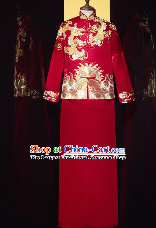 Chinese Ancient Bridegroom Embroidered Phoenix Dragon Red Mandarin Jacket and Gown Traditional Wedding Tang Suit Costumes for Men