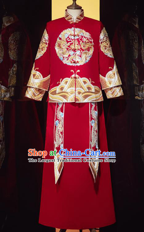 Chinese Ancient Bridegroom Embroidered Double Dragon Red Mandarin Jacket and Gown Traditional Wedding Tang Suit Costumes for Men