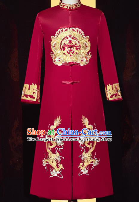 Chinese Ancient Bridegroom Embroidered Double Dragon Red Mandarin Jacket Traditional Wedding Tang Suit Costumes for Men