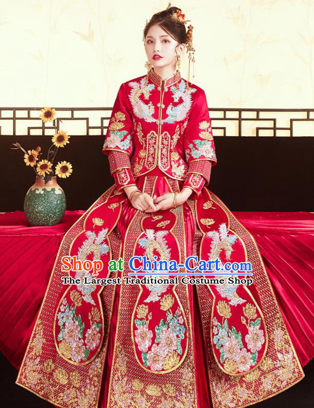 Chinese Traditional Bride Embroidered Drilling Phoenix Peony Red Xiu He Suit Wedding Blouse and Dress Bottom Drawer Ancient Costumes for Women