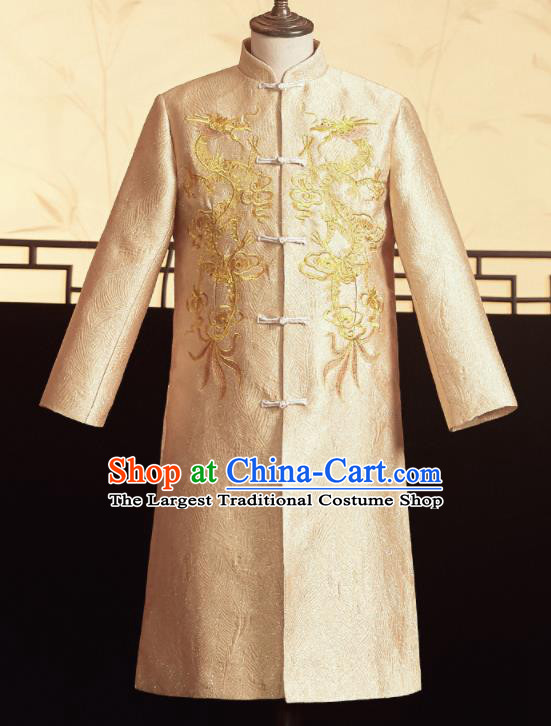 Chinese Ancient Bridegroom Golden Embroidered Dragons Mandarin Jacket Traditional Wedding Tang Suit Costumes for Men