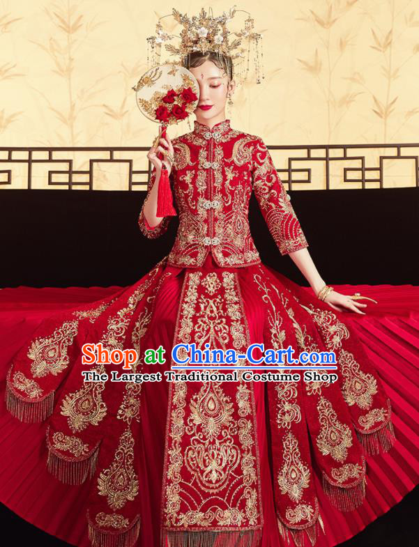 Chinese Traditional Wedding Bottom Drawer Embroidered Red Blouse and Dress Xiu He Suit Ancient Bride Costumes for Women