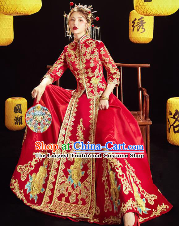 Chinese Traditional Wedding Embroidered Golden Peony Blouse and Dress Red Bottom Drawer Xiu He Suit Ancient Bride Costumes for Women