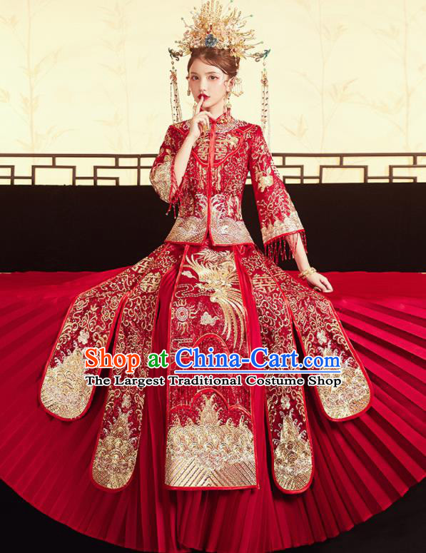 Chinese Traditional Wedding Embroidered Golden Phoenix Blouse and Dress Red Bottom Drawer Xiu He Suit Ancient Bride Costumes for Women