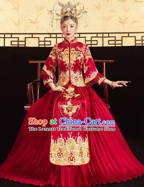 Chinese Traditional Wedding Embroidered Golden Flowers Blouse and Dress Red Bottom Drawer Xiu He Suit Ancient Bride Costumes for Women
