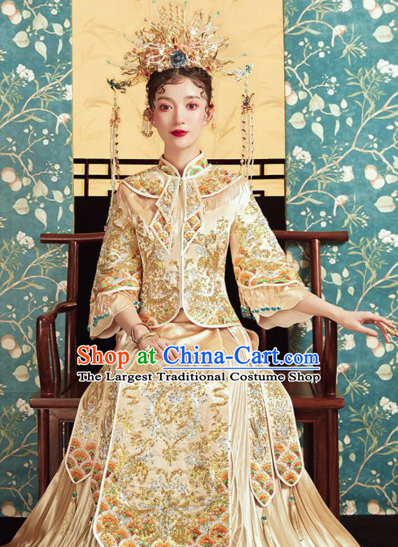 Chinese Traditional Wedding Drilling Golden Bottom Drawer Embroidered Blouse and Dress Xiu He Suit Ancient Bride Costumes for Women