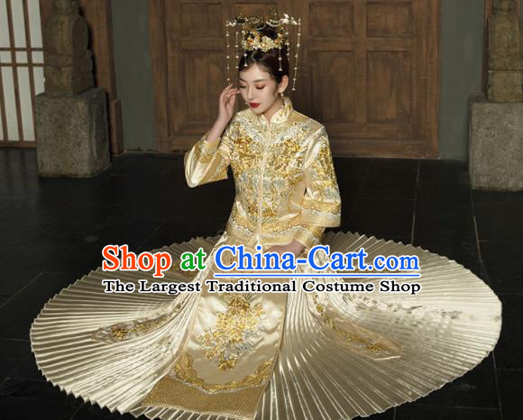 Chinese Traditional Wedding Golden Bottom Drawer Embroidered Blouse and Dress Xiu He Suit Ancient Bride Costumes for Women