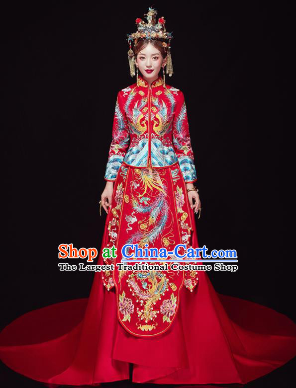 Chinese Traditional Wedding Red Trailing Bottom Drawer Embroidered Phoenix Blouse and Dress Xiu He Suit Ancient Bride Costumes for Women