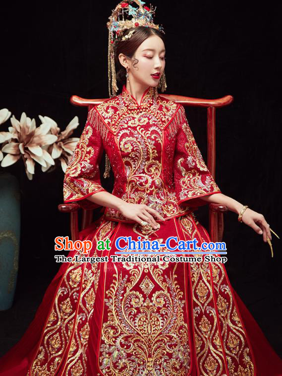 Chinese Traditional Wedding Red Bottom Drawer Embroidered Beads Blouse and Dress Xiu He Suit Ancient Bride Costumes for Women