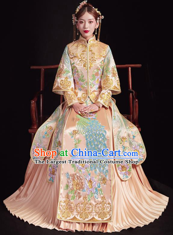 Chinese Traditional Wedding Champagne Bottom Drawer Embroidered Peacock Blouse and Dress Xiu He Suit Ancient Bride Costumes for Women
