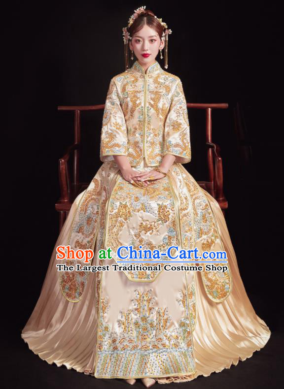 Chinese Traditional Wedding Golden Bottom Drawer Embroidered Phoenix Peony Blouse and Dress Xiu He Suit Ancient Bride Costumes for Women