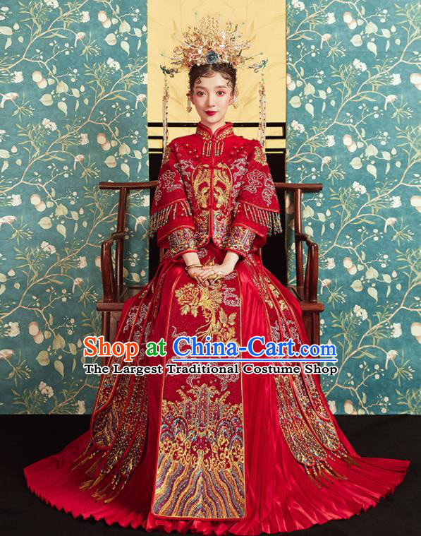 Chinese Traditional Wedding Embroidered Phoenix Peony Red Blouse and Dress Xiu He Suit Bottom Drawer Ancient Bride Costumes for Women