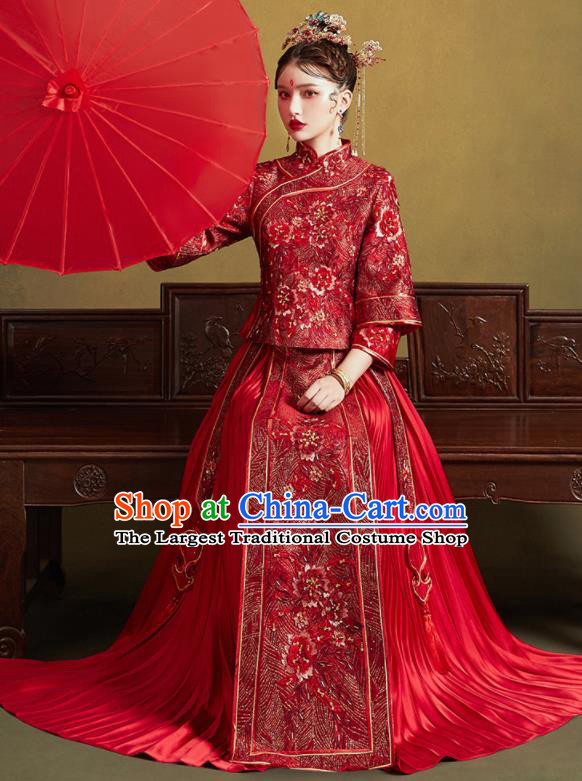 Chinese Traditional Wedding Embroidered Peony Red Blouse and Dress Xiu He Suit Bottom Drawer Ancient Bride Costumes for Women