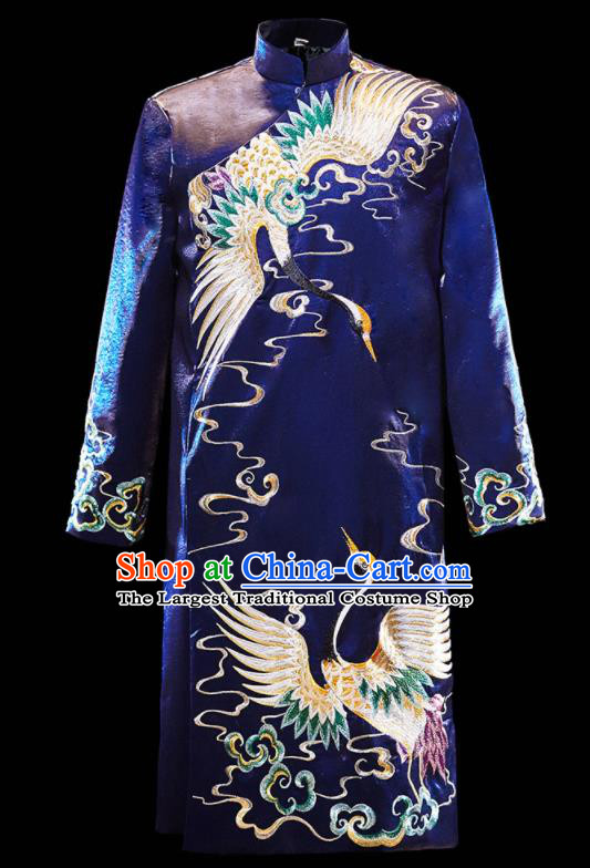 Chinese Ancient Bridegroom Embroidered Crane Royalblue Mandarin Jacket and Gown Traditional Wedding Tang Suit Costumes for Men