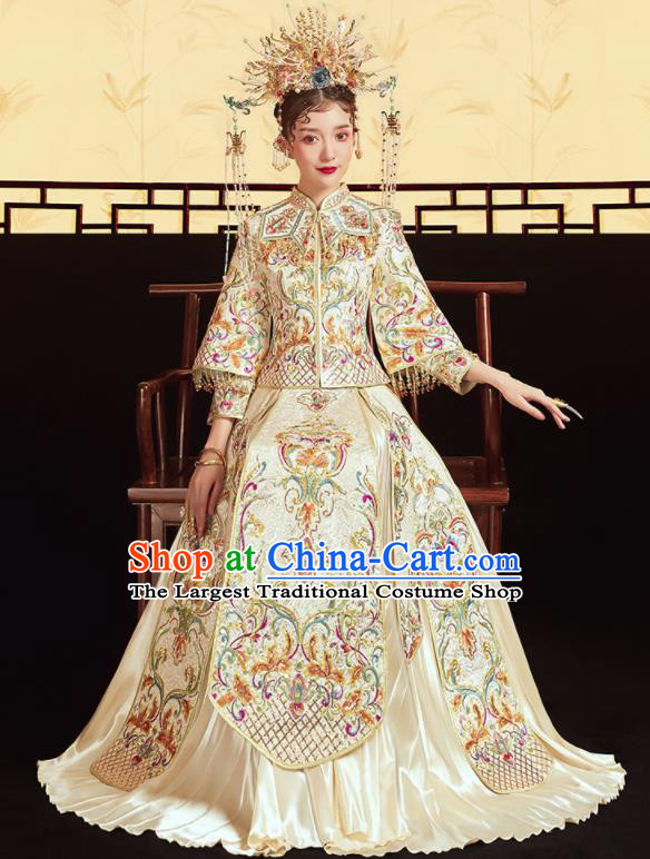 Chinese Traditional Wedding Embroidered Beige Blouse and Dress Xiu He Suit Bottom Drawer Ancient Bride Costumes for Women