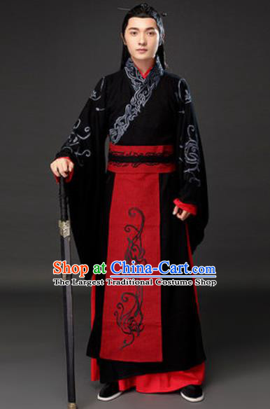 Chinese Ancient Royal Duke Clothing Traditional Han Dynasty Swordsman Costumes for Men