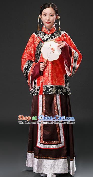 Chinese Ancient Qing Dynasty Rich Concubine Red Blouse and Brown Skirt Traditional Patrician Mistress Costumes for Women