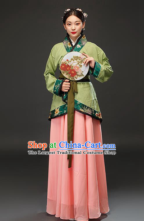 Chinese Traditional Han Dynasty Female Civilian Green Dress Ancient Maidservant Costumes for Women