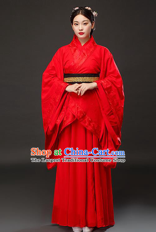 Chinese Traditional Han Dynasty Court Princess Red Dress Ancient Patrician Lady Costumes for Women