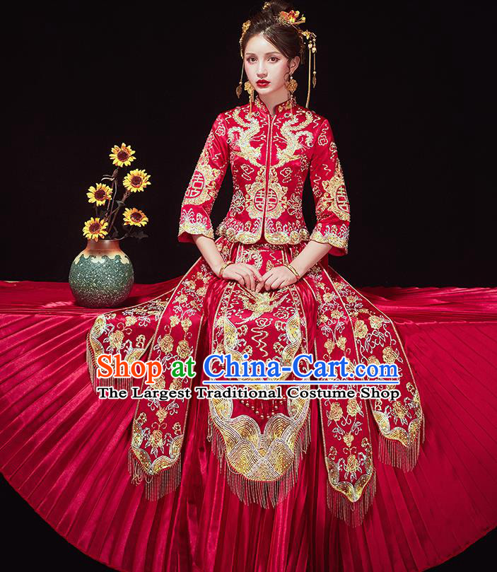 Chinese Traditional Ancient Bride Costumes Embroidered Golden Phoenix Xiu He Suit Wedding Blouse and Dress Bottom Drawer for Women