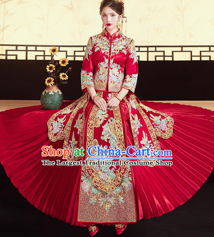 Chinese Traditional Ancient Bride Costumes Embroidered Drilling Flowers Xiu He Suit Wedding Blouse and Dress Bottom Drawer for Women
