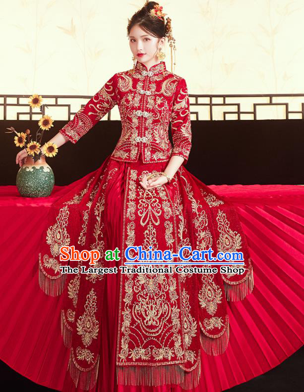 Chinese Traditional Ancient Bride Costumes Embroidered Drilling Xiu He Suit Wedding Blouse and Dress Bottom Drawer for Women
