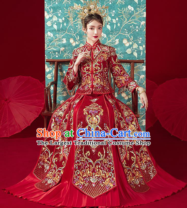 Chinese Traditional Ancient Bride Costumes Embroidered Drilling Wine Red Xiu He Suit Wedding Blouse and Dress Bottom Drawer for Women