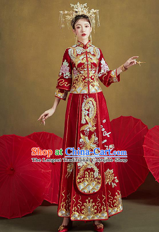 Chinese Traditional Ancient Bride Costumes Embroidered Drilling Phoenix Red Xiu He Suit Wedding Blouse and Dress Bottom Drawer for Women
