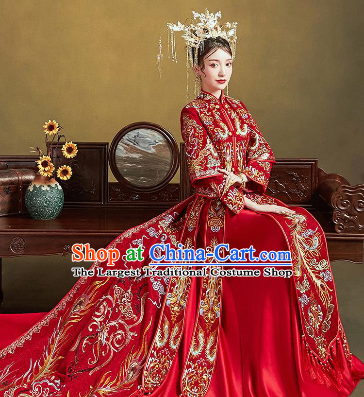 Chinese Traditional Ancient Bride Drilling Costumes Embroidered Phoenix Red Xiu He Suit Wedding Blouse and Dress Bottom Drawer for Women