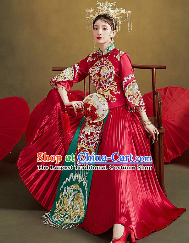 Chinese Traditional Ancient Bride Drilling Costumes Embroidered Red Xiu He Suit Wedding Blouse and Dress Bottom Drawer for Women