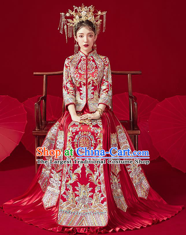 Chinese Traditional Ancient Bride Embroidered Drilling Costumes Red Xiu He Suit Wedding Blouse and Dress Bottom Drawer for Women