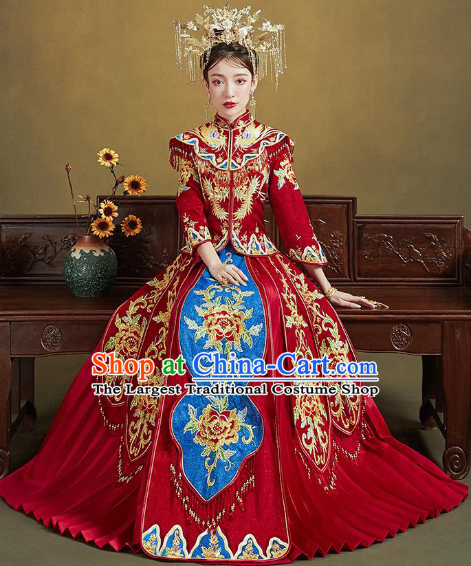 Chinese Traditional Ancient Bride Drilling Embroidered Peony Costumes Red Xiu He Suit Wedding Blouse and Dress Bottom Drawer for Women