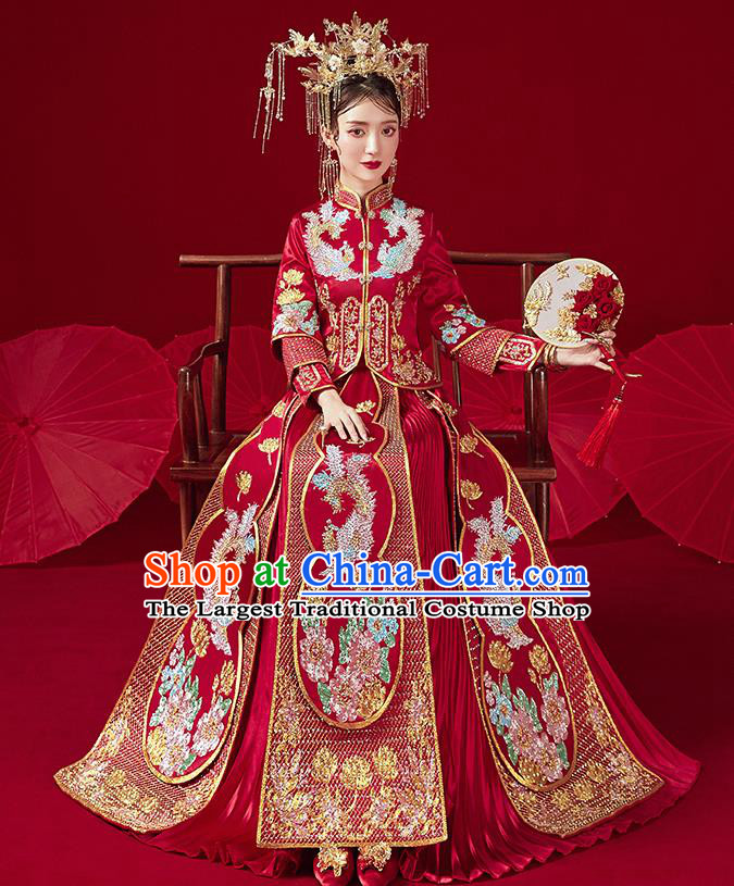 Chinese Traditional Ancient Bride Drilling Phoenix Embroidered Costumes Red Xiu He Suit Wedding Blouse and Dress Bottom Drawer for Women