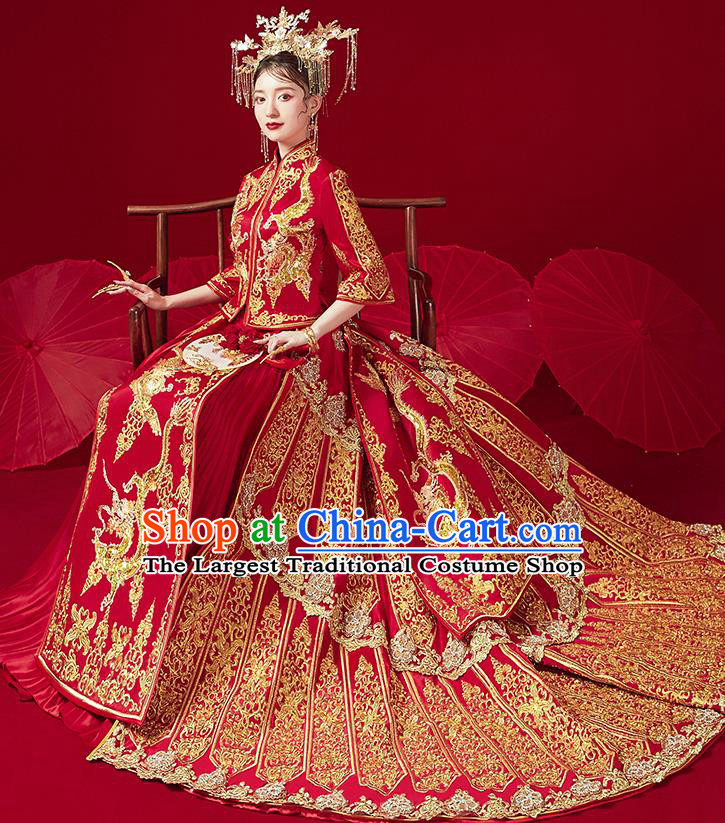 Chinese Traditional Ancient Bride Drilling Embroidered Dragon Costumes Red Xiu He Suit Wedding Blouse and Dress Bottom Drawer for Women