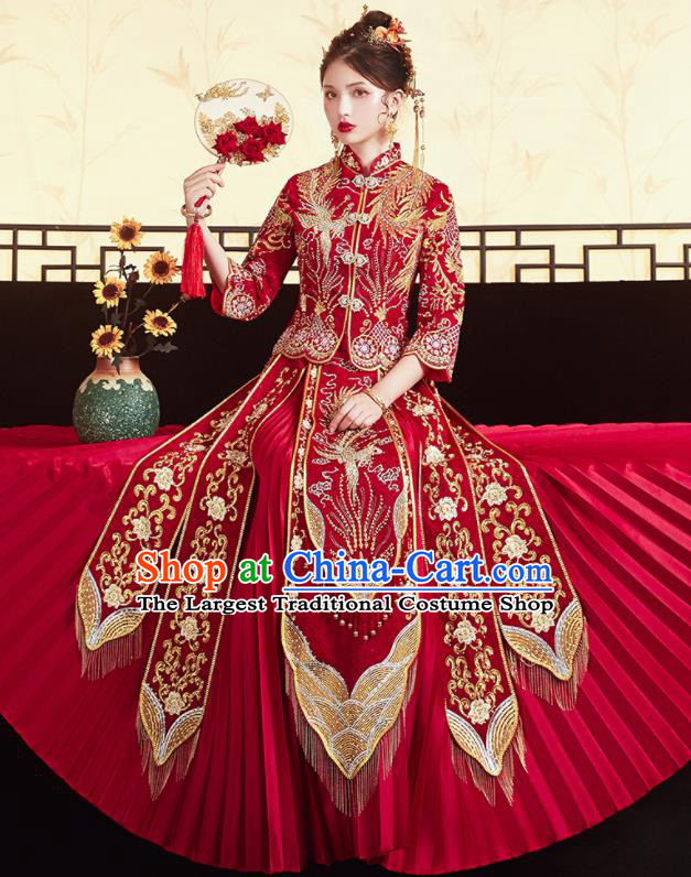 Chinese Traditional Ancient Bride Drilling Embroidered Phoenix Costumes Red Xiu He Suit Wedding Blouse and Dress Bottom Drawer for Women