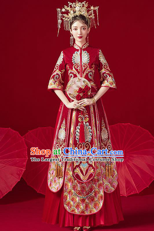 Chinese Traditional Ancient Bride Drilling Peacock Embroidered Costumes Red Xiu He Suit Wedding Blouse and Dress Bottom Drawer for Women