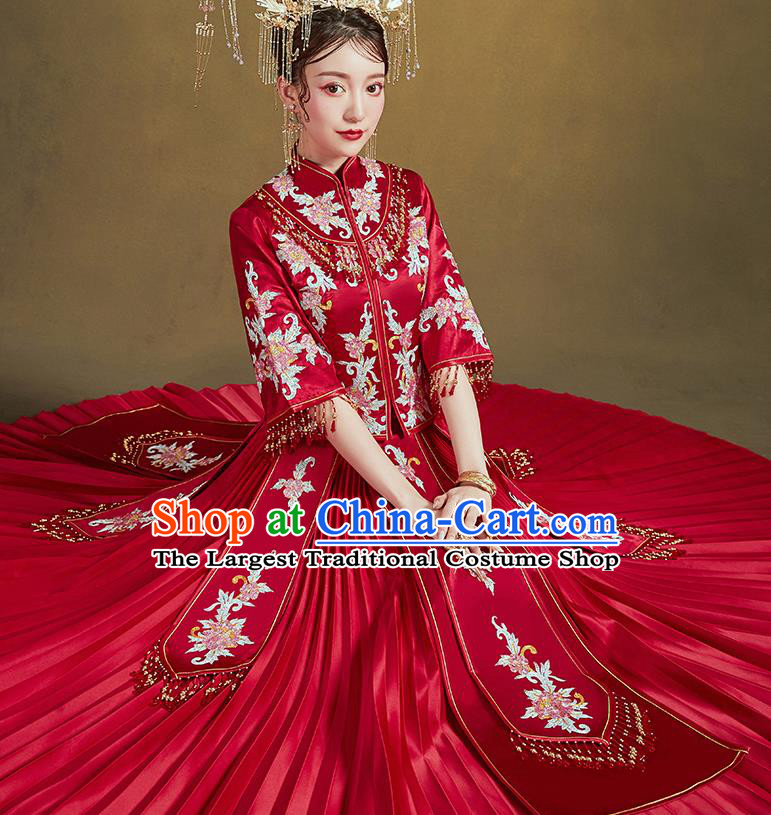 Chinese Ancient Bride Embroidered Drilling Peony Costumes Red Xiu He Suit Wedding Blouse and Dress Traditional Bottom Drawer for Women