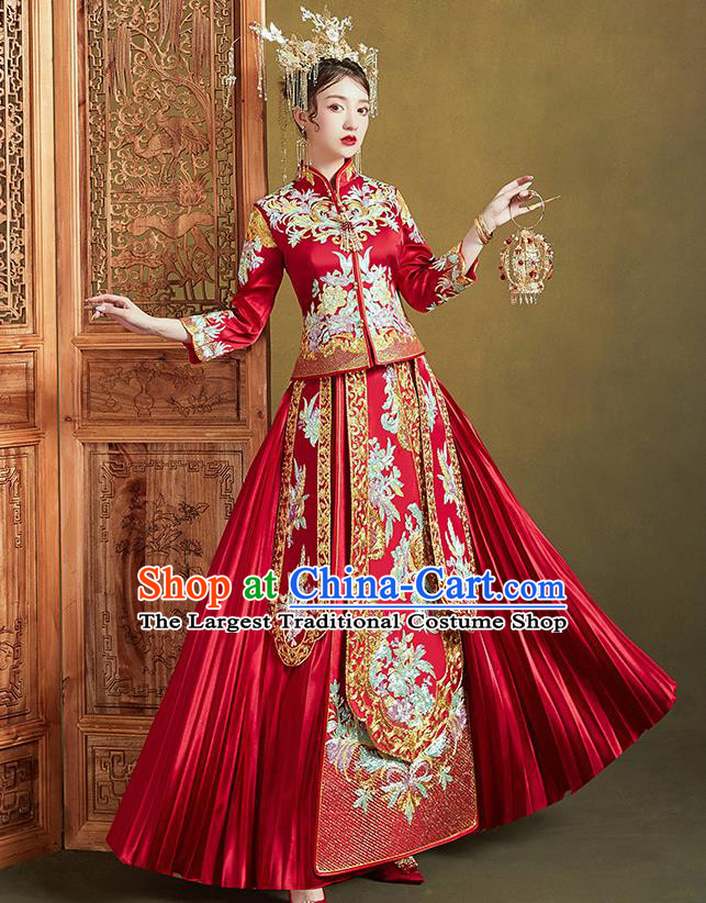 Chinese Ancient Bride Embroidered Drilling Flowers Costumes Red Xiu He Suit Wedding Blouse and Dress Traditional Bottom Drawer for Women