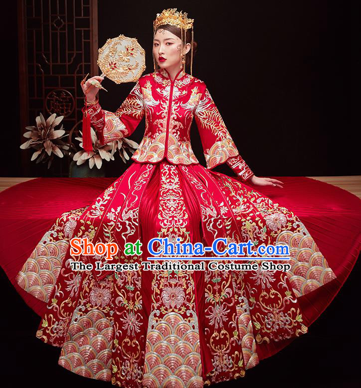 Chinese Ancient Bride Embroidered Costumes Drilling Red Xiu He Suit Wedding Blouse and Dress Traditional Bottom Drawer for Women