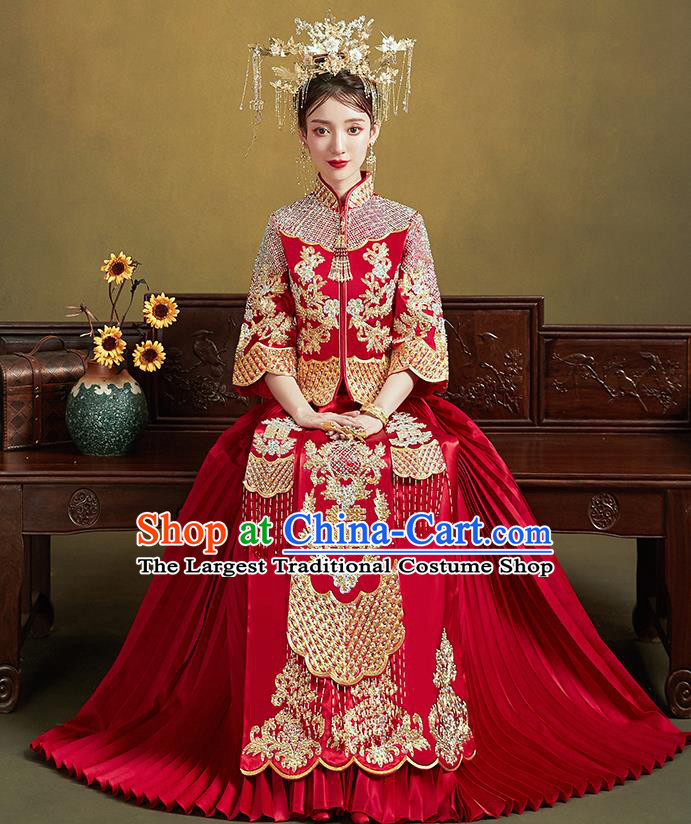 Chinese Ancient Bride Embroidered Costumes Diamante Red Xiu He Suit Wedding Blouse and Dress Traditional Bottom Drawer for Women
