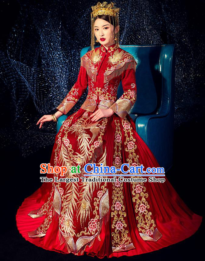 Chinese Ancient Bride Embroidered Phoenix Peony Costumes Diamante Red Xiu He Suit Wedding Blouse and Dress Traditional Bottom Drawer for Women