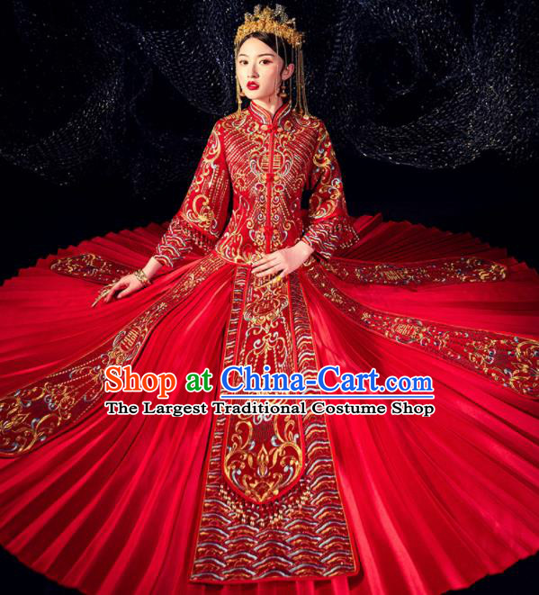 Chinese Ancient Bride Embroidered Beads Costumes Diamante Red Xiu He Suit Wedding Blouse and Dress Traditional Bottom Drawer for Women