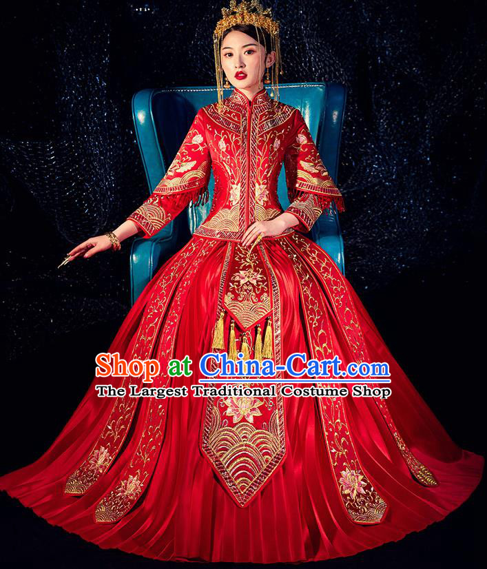 Chinese Ancient Bride Embroidered Lotus Costumes Diamante Red Xiu He Suit Wedding Blouse and Dress Traditional Bottom Drawer for Women