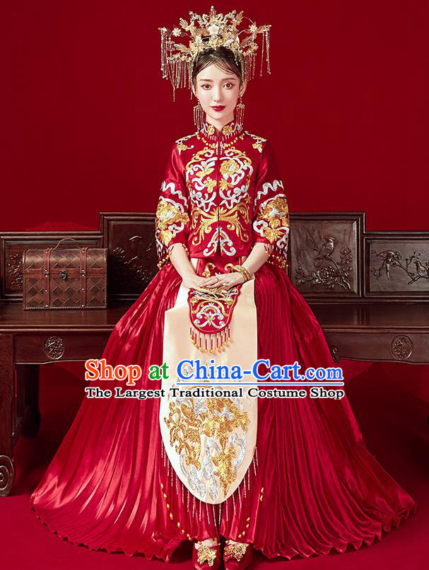 Chinese Traditional Ancient Bride Embroidered Costumes Red Xiu He Suit Wedding Blouse and Dress Bottom Drawer for Women