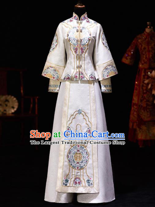 Chinese Ancient Bride Embroidered White Costumes Diamante Xiu He Suit Wedding Blouse and Dress Traditional Bottom Drawer for Women