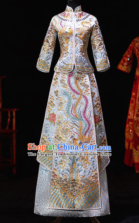 Chinese Ancient Bride Embroidered Blue Costumes Diamante Xiu He Suit Wedding Blouse and Dress Traditional Bottom Drawer for Women