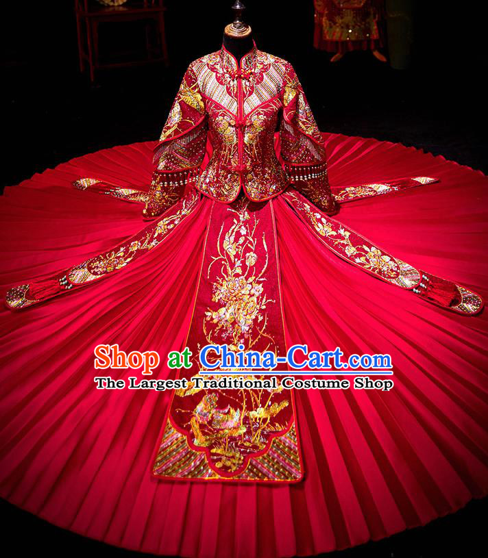 Chinese Ancient Bride Embroidered Costumes Diamante Peony Red Xiu He Suit Wedding Blouse and Dress Traditional Bottom Drawer for Women