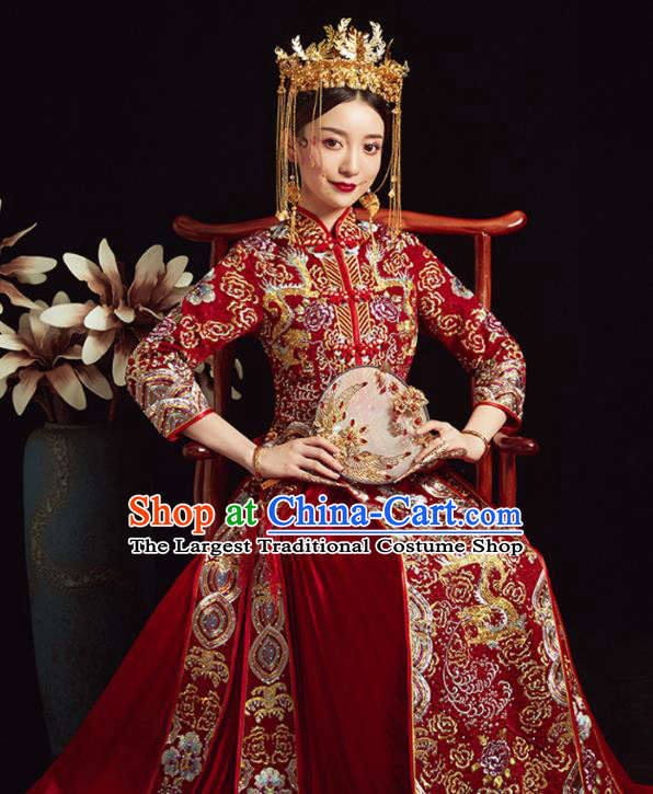 Chinese Ancient Bride Embroidered Costumes Diamante Dragon Red Xiu He Suit Wedding Blouse and Dress Traditional Bottom Drawer for Women