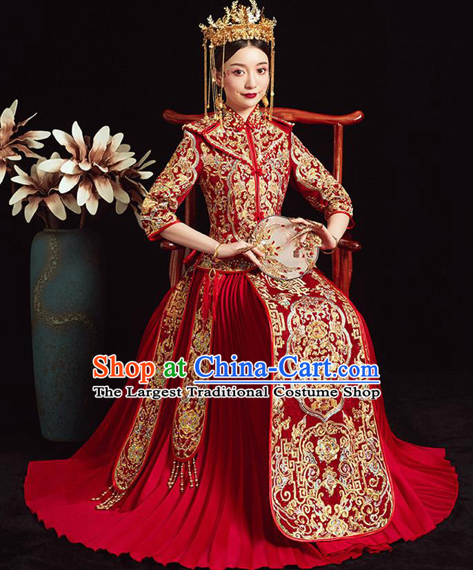 Chinese Ancient Bride Embroidered Peony Red Costumes Diamante Xiu He Suit Wedding Blouse and Dress Traditional Bottom Drawer for Women