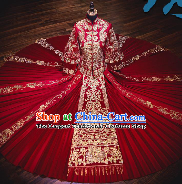 Chinese Ancient Bride Embroidered Red Costumes Diamante Xiu He Suit Wedding Blouse and Dress Traditional Bottom Drawer for Women